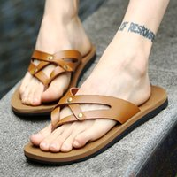 Wholesale Leisure Stylish Genuine Leather Gladiator Flip Flops Mens Beach Sandals Shoes Roman Fashion Style With Narrow Bands Rivet Studded Summer New