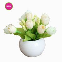 Wholesale New Artificial Flower With Ceramic Pot Fake Silk Green Leaves Colorful for Birthday Thanksgiving Motherday Party Home Decoration G