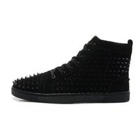b skin - with box New Design Men Women High Top Black Sheep Skin with Black Spikes Lace Up Red Bottom Sneakers Couples Brand Casual Shoes