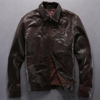 america sheep - AVIREXFLY Mens leather jackets lapel neck men casual leather Europe and America Vintage Cuba sheep skin leather jacket
