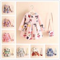 beach dress bag - Girls Dress Pieces Set Kids Skirt Linen Princess Autumn Winter DG Cartoon Floral Perfume Bottle Print European Style Shoulder Bag