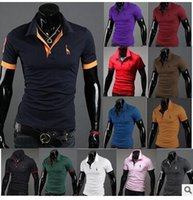 Wholesale polo shirts men Hot summer men large size multi color printing short sleeved t shirt deer shirt POLO shirt DHL