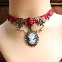 american bride - 2016 European and American vintage rose flower lace chokers necklaces flower collar necklaces Gemstone Pendant for bride women red dress