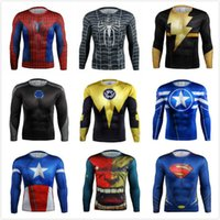 Wholesale Marvel comics superheroes batman avengers sports T shirt man compression armour base layer long sleeved top fitness S xl