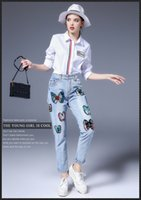 100 cotton jeans for women - 2016 new autumn and winter in Europe and America women s trousers embroidered jeans fashion straight jeansbutterfly jeans for girls