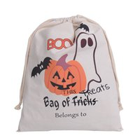Wholesale 2016 hot style Halloween Canvas Cotton Personalized Candy Gifts Bag Party Pumpkin Spider treat trick Drawstring Bags Pouch bag