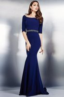 Wholesale On Sale Evening Dress With Merimaid Trumpet Jersey Scoop Neck Sweep Train Beaded Sash Sleeves Elegant Evening Dresses DL60234