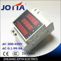 Wholesale Din rail LED display voltmeter ammeter with active and apparent power and power factor Din rail range AC V A