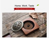 african wood carvings - ooden trophies High Quality African Rosewood Incense Burner Coil Incense Holder Carved Wood Furnace Sandalwood Buddhist Censer Chinese Cu