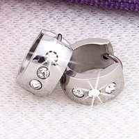 Wholesale Pair Stainless Steel Round Crystal Hoop Huggie Clip On Earrings x0 quot HOT