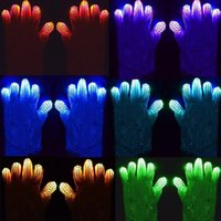 Wholesale New LED Flashing Gloves Colorful Light Flash Finger Glove LED Light Up Rave Silver Sequin Gloves Color Changing Christmas Halloween New Yea