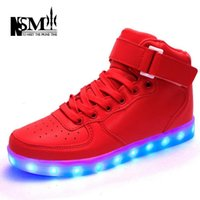 Cheap ENLFE 7 Colors LED Shoes For Adults Men & Women Casual Shoes Super Cool High Top Glowing USB Charging LED Lights Shoes