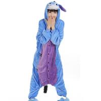 adult donkey costume - Donkey Unisex Flannel Hooded Pajamas Adults Cosplay Cartoon Cute Animal Onesies Sleepwear Hoodies For Women