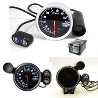Wholesale 3 quot mm White Led DE Style Tachometer Rpm Gauge Stepper Motor With Peak And Waring Cylinder V Auto Gauge