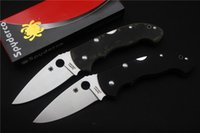 Wholesale Spyderco folding camping knife blade material c handle material G10 outdoor hunting mountaineering survival tool