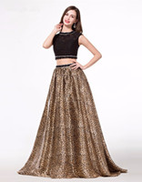 leopard print prom dress - 2016 New Fashion Two Pieces Prom Dresses Black Beaded Crystal Leopard Print Skirt Formal Party Gowns