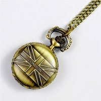 antique union jack flag - Emboss Union Jack British Flag Pocket Watch Necklaces Bronze Fob Watches Quartz Watches Locket Women Steampunk jewelry Christmas Gift