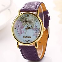 atlas watches - Popular personality map Watch atlas plat Leather world map Geneva watches leisure men women fashion Unisex watches