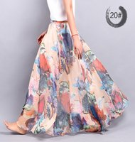 americas line - New Fashion Women Skirts Chiffon Pleated Skirt Beach Print long Skirt Europe Americas new spring and summer