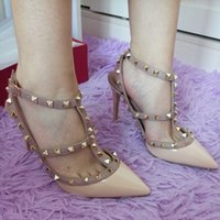 women shoes summer sandals - 2016 New customized color rivets shoes women summer high quality pointed toes high heels sandals thin heels pumps size