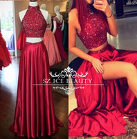 Wholesale Burgundy Two Piece Prom Dresses Long Cheap Sparkle Crystals High Neck Open Back Thigh High Slits Elegant Evening Party Dress Gown