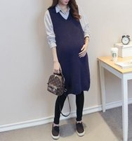 Wholesale 2016new fashion women maternity dresses vest dress dark blue v neck