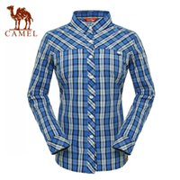 Wholesale Camel outdoor Women casual shirt long sleeve casual stand collar stripe shirt a4s1z6006