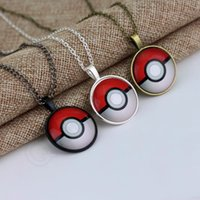 anime jewelry - Fashion Anime Poke Pendant Necklace Vintage Retro Time Gemstone Ball Pendant Necklace Dome Cabochon Round Pendant Jewelry Gifts QQA305