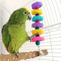 Wholesale Colorful Natural Loofah Sponge Bird Parrot Bite resistant Toys Swing Bell Ladder Cage Toy Handmade Parrot Toys