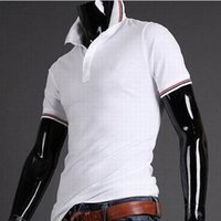 Wholesale summer new fashion stand up collar short sleeve T shirt polo top olive leaf Embroidery male polo casual men s fitness