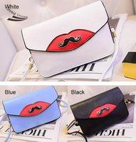 Wholesale Good quality women lady girl mini Mustache Decorated black blue white Shoulder Bag Clutch makeup bags