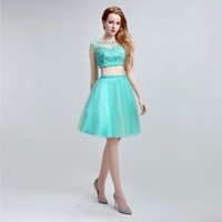 Wholesale Lx162 Turquoise Tulle Short Party Homecoming Dresses Jewel Neck Beading Sheer Bodice Cheap Two Pieces Graduation Gowns For Sweet