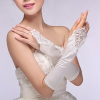 Wholesale 2016 New Bridal Gloves No Finger Lace Embroidered Long White Satin Wedding Gloves Vestido Cheap Edding Accessories