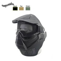 Wholesale Outdoor Airsoft Shooting Face Protection Gear Metal Steel Wire Mesh Full Face Tactical Airsoft Mask with Neck Baffle