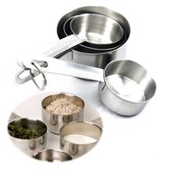 Wholesale Stainless Steel Handle Measuring Cups Set of Cooking Tools Kitchen Seasoning Spoons Measuring Set Tools For Baking Coffee
