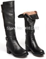 accessories riding boot - New Fashion Ankle Strap Genuine Leather Plush Women Winter Boots Thick Heel Cool Knee High Riding Boots Women Motorcycle Boots