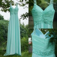 aquamarine water - Charming Aquamarine Chiffon A line Prom Dresses Long Cheap Spaghetti Fitted Beaded Pleats Party Formal Gowns Custom Made China EN6241