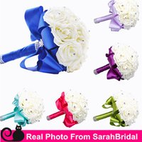 Wholesale Silk Ribbon Flower Buds - Mint Green Fuchsia Blue Lilac Bridal Wedding Bouquet Decorations Artificial Bridesmaid Flowers Crystal Pearls Rose Flowers Silk Ribbon Cheap