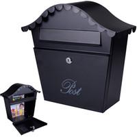 metal mailbox - Wall Mount Black Mail Box w Retrieval Door Keys Steel MailBox New