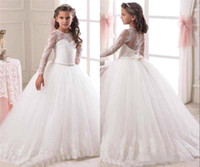 Wholesale Illusion Long Sleeves Flower Girls Dresses Lace Appliqued Bow Sash Ball Gown Sweep Train Kids Formal Wear Girls Pageant Dresses