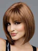 Cheap Fashionable BOB style Short Party Wig For Women heat resistant high quality neat bangs brown short bob hair wigs