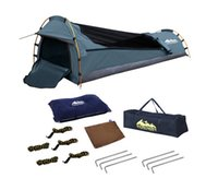 Wholesale Single Camping Canvas Swag Biker Navy Waterproof UV Resistant Air Pillow Travel Camping Tent Outdoor Biking Hiking Fishing