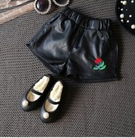 Wholesale Tong leather shorts fall new small Korean girls flower embroidery all match soft leather shorts trousers