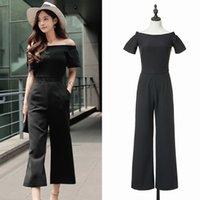 Wholesale Cheap off collar jumpsuit boat neck ninth pants jumpsuit empire waist jumpsuit black rompers with sleeves