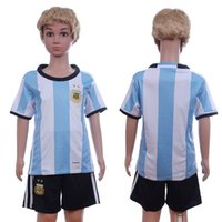 Wholesale 16 New national team Messi kids Soccer Jersey Thai Quality AGuero Soccer Shirts DI MARIA AFA Children youth Football Jerseys