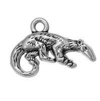 animal anteater - cute animal Charm anteater antique silve custom Making