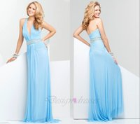 Wholesale 2016 A Line Special Occasions Elegant Evening Dresses Prom Gown Dresses Chiffon With Sashes Sleeveless Floor Length Zipper V Neck