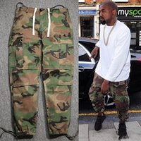 Wholesale 2016 kanye west casual fashion hip hop factory connection mens clothing military tactical cargo pants camouflage camo joggers