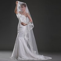 Wholesale Hot Ivory Lace Wedding Bridal Veil With No Comb In Stock Cheap m Length Layer Bridal Accessories Veil For Bride