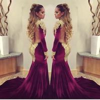 Wholesale 2016 Stunning Burgundy Velvet Mermaid Celebrity Red Carpet Dresses Golden Shiny Sequins Applique High Neck Backless Evening Gowns Prom Gowns